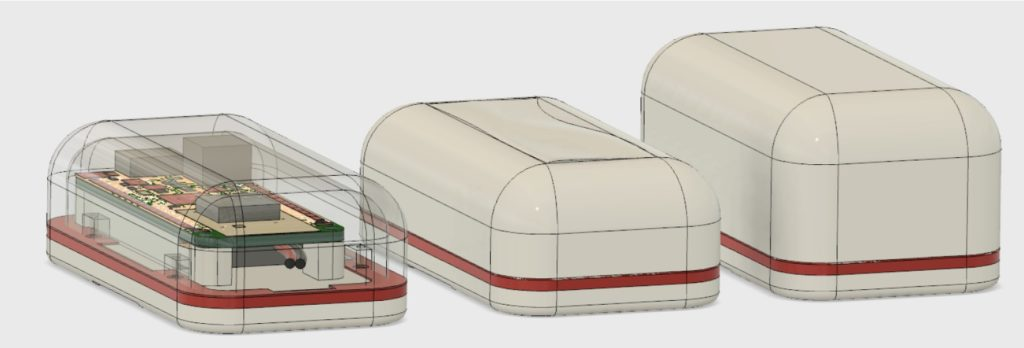 Three CAD models of feather enclosures