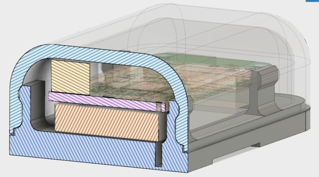 CAD view showing cross section of enclosure