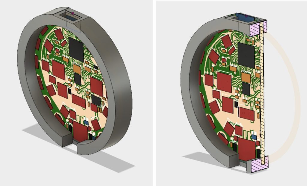 CAD models showing the circular circuit playground with 3D printed case around rim.