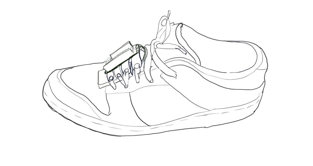 Sketch of enclosure mounted to a shoe using the shoelaces