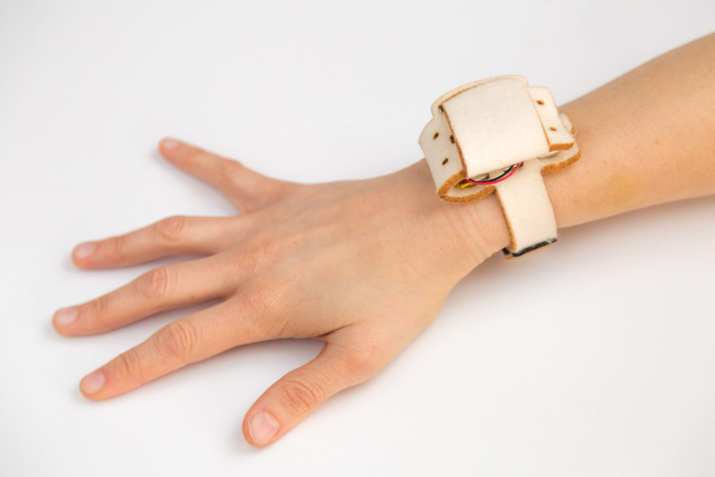 Enclosure on wrist, folded closed