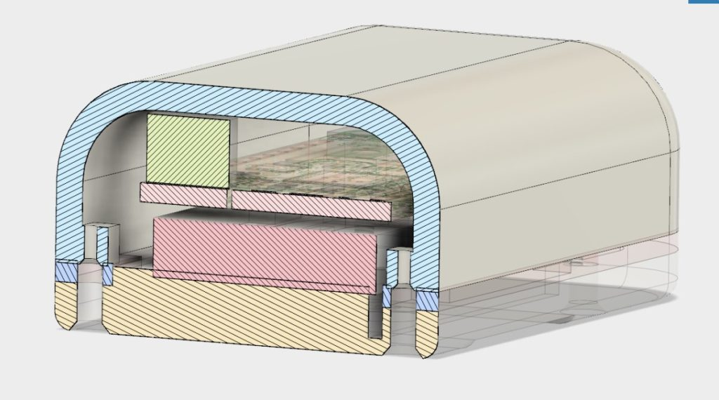 CAD model showing cross section with screw holes rather than snap