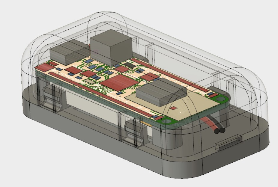 CAD model showing basic Feather enclosure, with cover made transparent
